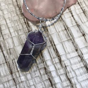 Wire wrapped Amethyst Chakra Crystal Necklace